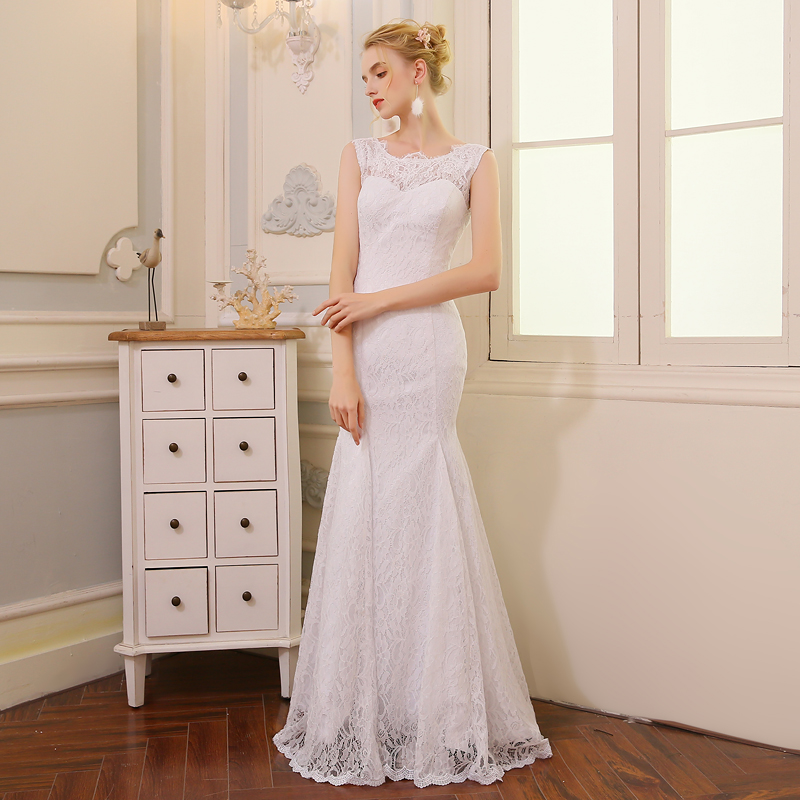 QQ Lover 2 i 1 Mermaid Bröllopsklänning med Tulle Avtagbar Tåg - Bröllopsklänningar - Foto 2