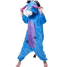 YM Donkey Unisex Adults Flannel Hooded Pajamas Cosplay Cartoon Animal Onesies Sleepwear Free Shipping For Women Wholesale PJ19