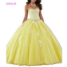 Vintage Ball Gown Prom Dresses Quinceanera Robe Long White Appliques Tulle Sweet 16 Vestidos De 15 Anos 2019