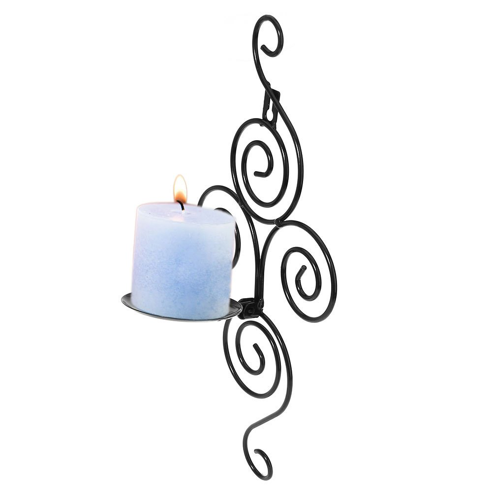 Vertical Swirling Iron Candle Holder Sconce Hanging Wall