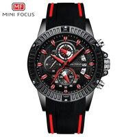 MINI FOCUS 2019 New Men's Sport Quartz Watches Silicone Band Army Chronograph Stopwatch for Man Relogios Masculilno 0244G0.4|Quartz Watches| |  -
