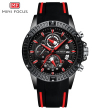 MINI FOCUS 2019 New Mens Sport Quartz Watches Silicone Band Army Chronograph Stopwatch for Man Relogios Masculilno 0244G0.4