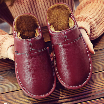 LCIZRONG Leather Home Slippers for Men Winter Warm Plush Slippers Bedroom Genuine Leather Unisex Men/women House Indoor Shoes 1