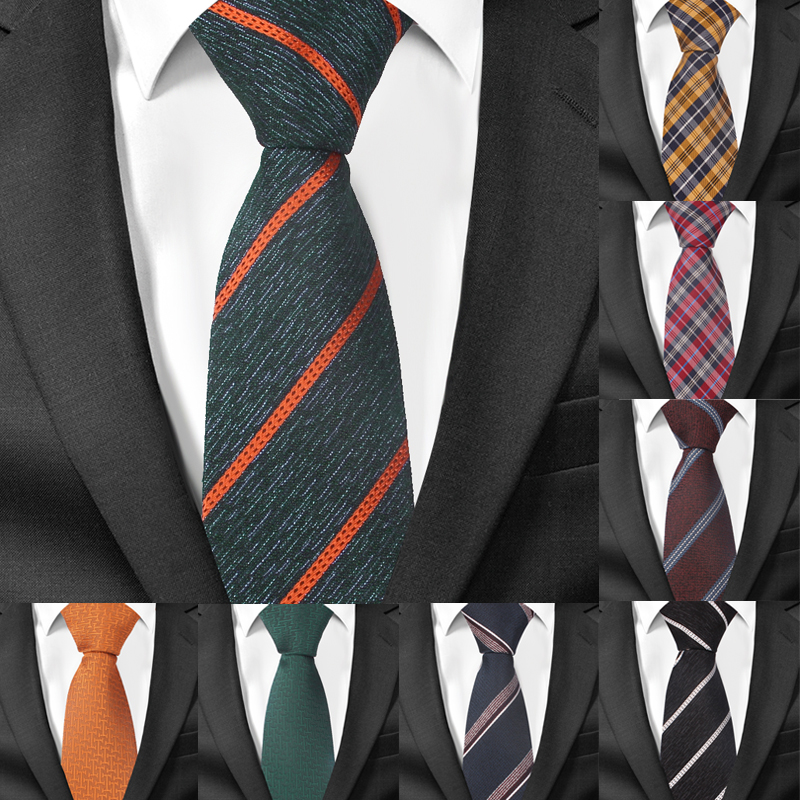 Fashion Striped Neck Tie For Men Polyester Jacquard Skinny Tie For Wedding Business Suits 7cm Wide Plaid Neck Ties Slim Necktie