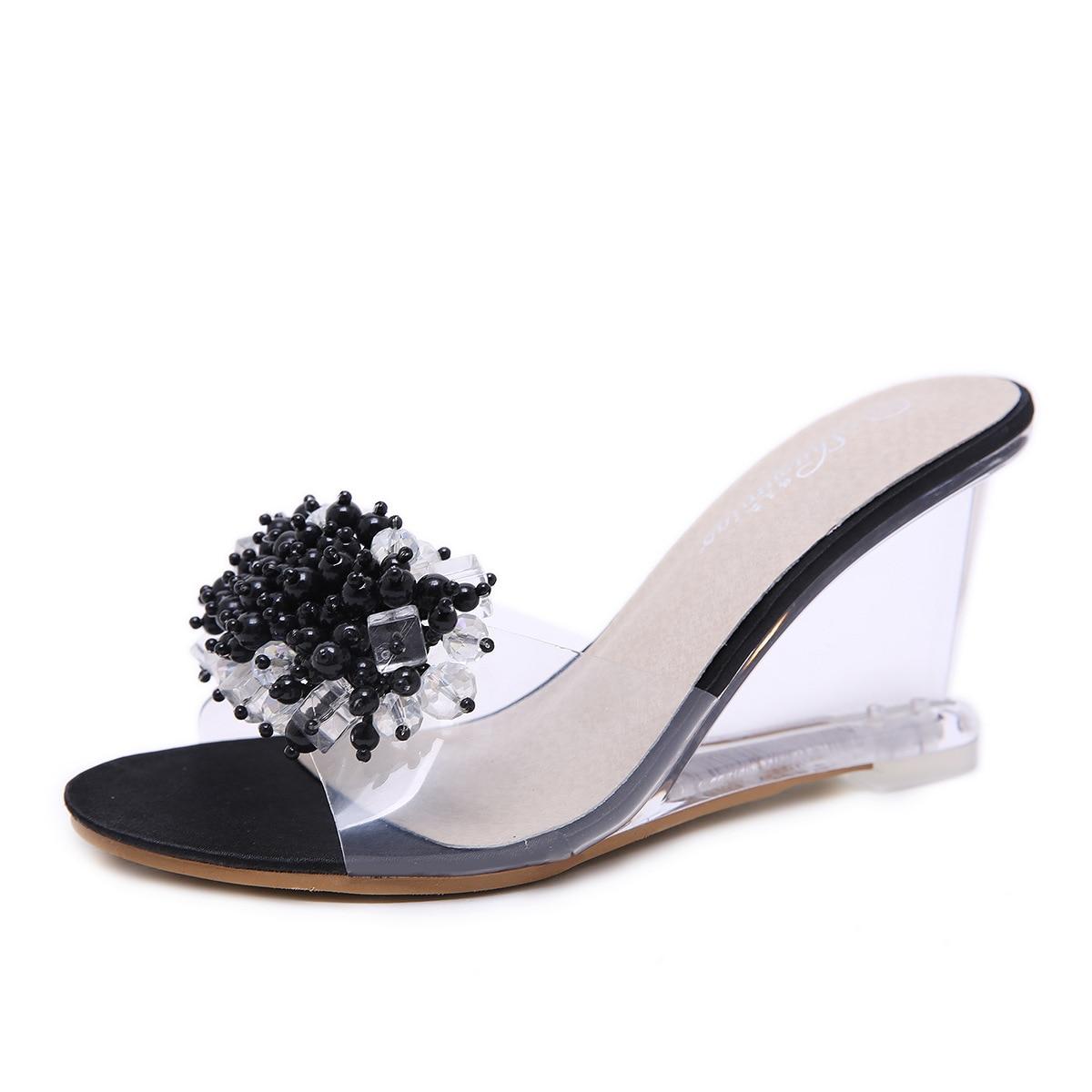 Wedges sandals female summer 2018 new sexy crystal transparent high heels glass rhinestones