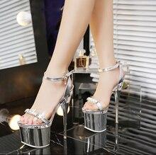 New fashion women 14 18cm heels sandals Crystal women platform font b shoes b font wedding