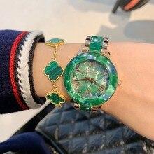 Dimini relojes de lujo para mujer, reloj de pulsera de cuarzo con diamantes de imitación, de acero inoxidable, de cristal, femenino