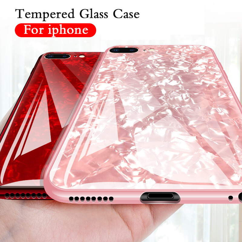 Tempered Glass <font><b>Case</b></font> For iPhone 7 8 6 Plus X XS Max XR Lovely Hard Back Cover Soft Silicone <font><b>Bumper</b></font> <font><b>Cases</b></font> for iphonex 8plus Shell image