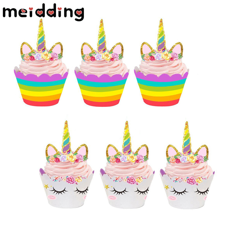 MEIDDING 24pcs Unicorn Cupcake Wrappers Cake Cupcake Toppers Baby Shower Kids Birthday Party Decor Supplies 12 wraps+12 topper