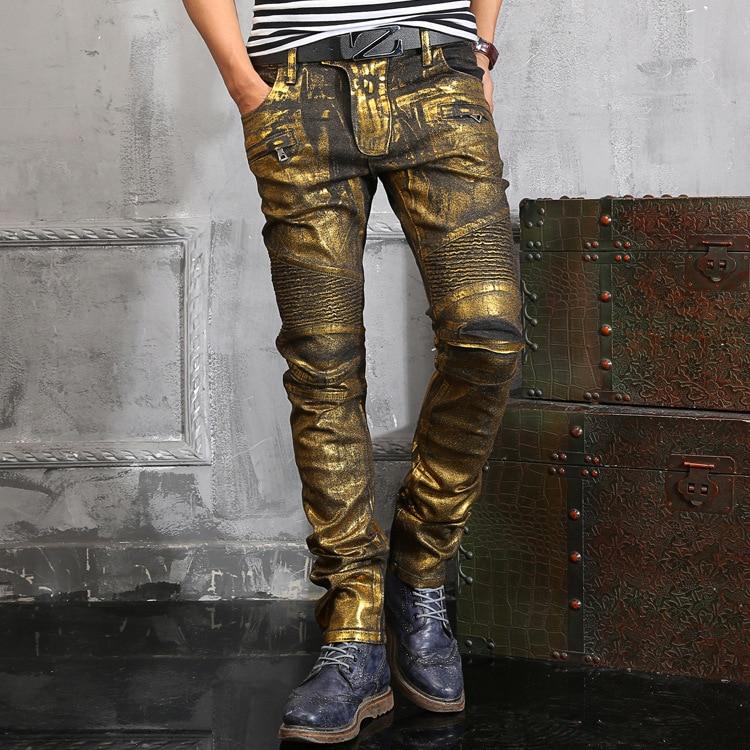 Gold coating jeans Famous Brand Paris Catwalk Shows Stretch Gray Men Jeans Washed Retro Slim Biker Jeans Balmai Jeans Men 28-40 new the stars paris catwalk shows stretch gray men jeans washed retro slim biker jeans balmai jeans men skinny jeans mens 28 36