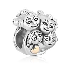 Free shipping Mother Daughter Family Love Mom Dad Son Charm Bead fit Pandora bracelet(China)