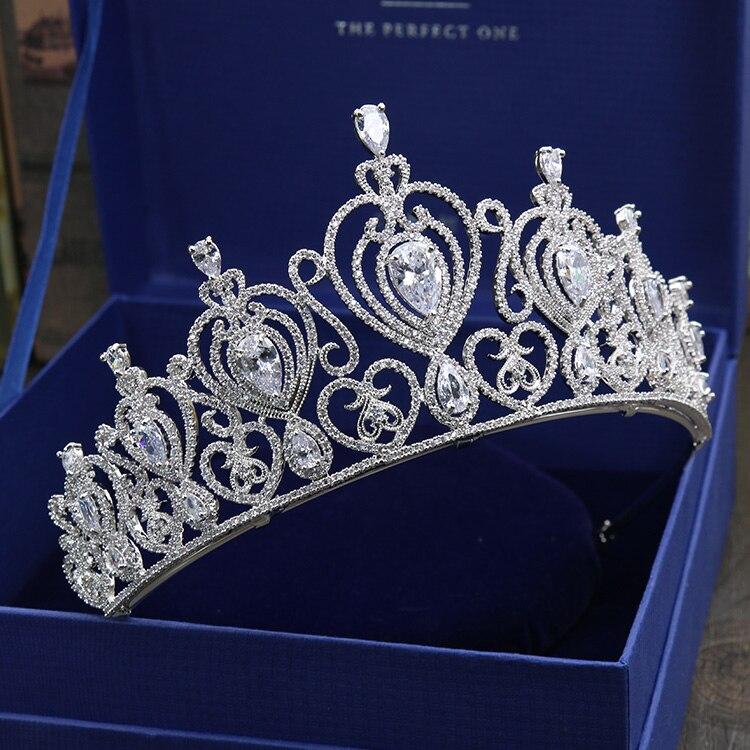 HIBRIDE kobiety Brial duża korona jasne cyrkonia biały złoty kolor tiara akcesoria do włosów komunikat biżuteria C 10 w Biżuteria do włosów od Biżuteria i akcesoria na  Grupa 2