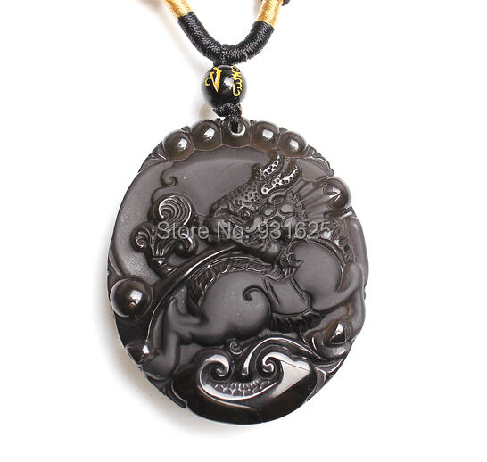 Wholesale Ice Clear Natural Obsidian Carved Kylin Chinese Dragon Lucky Amulet Pendants free Necklace Fashion man's Jewelry