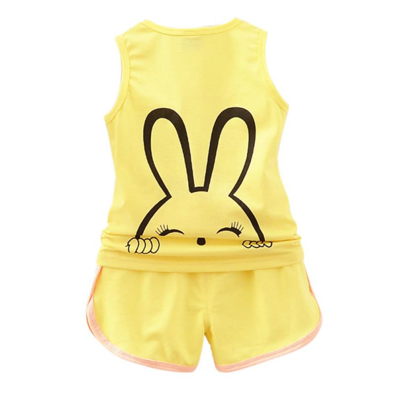 2pcs/set Kids Girls Cute Little Rabbit Clothes Set Girls Sleeveless Cartoon Rabbit Vest + Shorts Set Kids Cloth