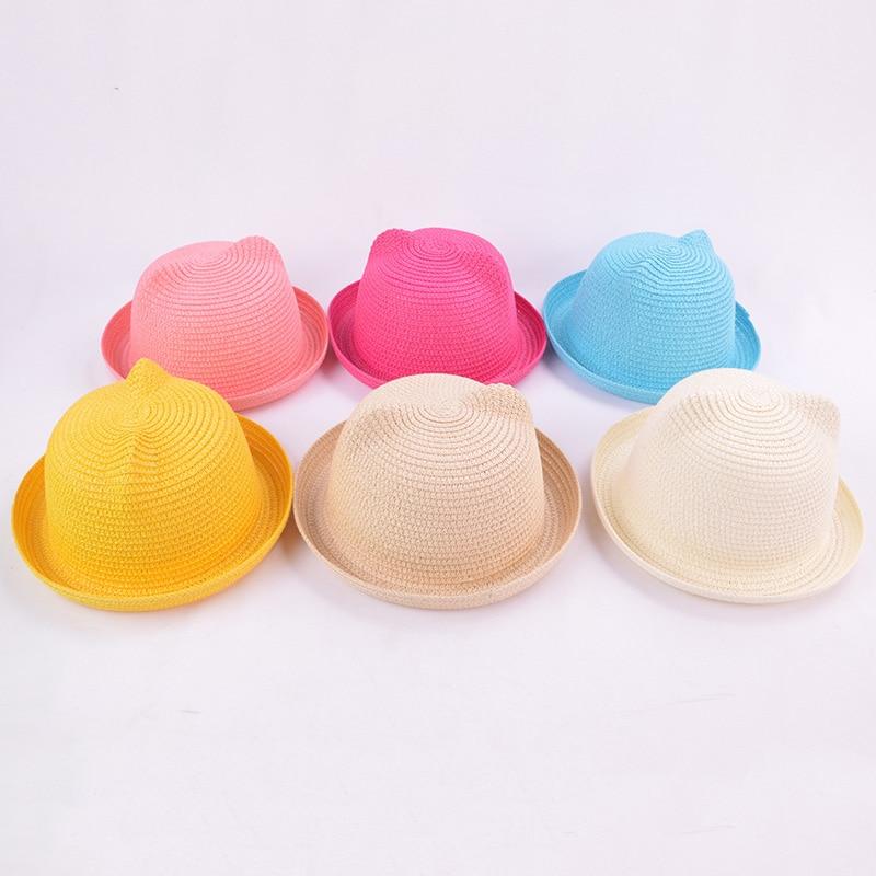 Accessories Molixinyu Baby Cap Girls Straw Hat Cute Ears Children Summer Cap For Girls/boys Bucket Hat Baby Boys Beach Caps Sun Baby Hat