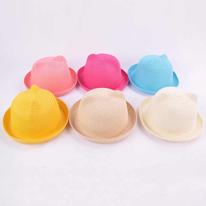 c7cb5b51a7d64 ... Fashion Lovely Girls Boys Straw Hats Headdress Summer Baby Sun Hat Cute  Ear Solid Floppy Beach ...