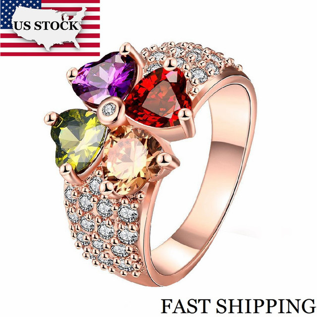 US STOCK 5% Off Rose Gold Color Ring Female Cubic Zirconia Wedding Rings for Women Crystal Jewelery Brincos Anillos Anel R385