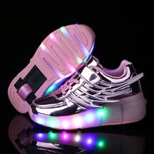 2019 Boys Girls Shoes Kids LED Light up Glowing Sneakers with Wheels Children Shoes Sport Shoes For Kids Boys Girls cheap Spring Summer Autumn Winter Rubber Cotton Fabric Unisex Fits true to size take your normal size Breathable Hook Loop