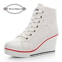 여성 캐주얼 신발 여성 높은 뒤꿈치 플랫폼 운동화 여성 웨지 신발 Zapatillas Mujer 두꺼운 밑창 캔버스 신발 여성