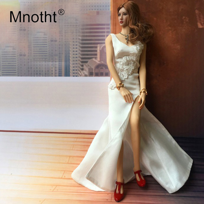 Mnotht 1 6 Scale Grace White Wedding Full Dress Clothes Female Solider Sexy Fashion Longuette Clothes