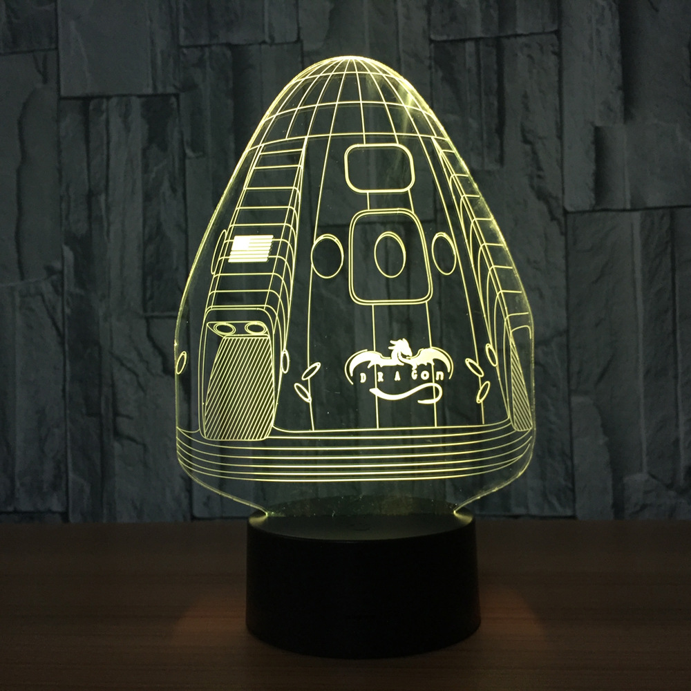 <font><b>Dragon</b></font> Space Capsule 7 Color Lamp 3d Visual Led Night Lights For Kid Touch Usb Table <font><b>Lampara</b></font> Lampe Sleeping Nightlight Room Lamp image