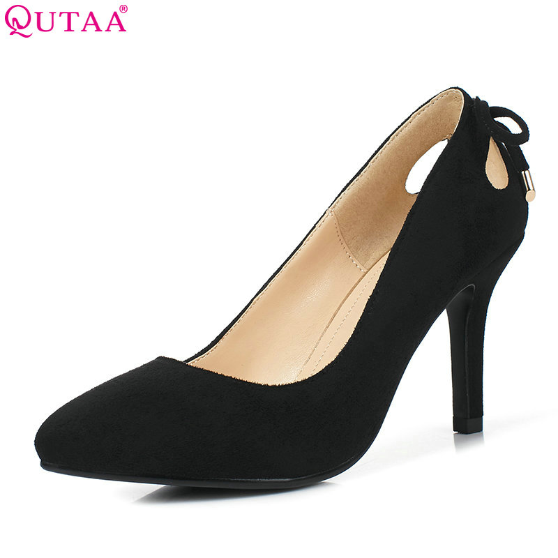 QUTAA 2017 Women Pumps Summer Ladies Shoe Thin High Heel Pointed Toe Black Slip On Bow Tie Woman Wedding Shoes Size 34-39 plus size 11 12 black pointed toe wedding women shoes summer office ladies work shoes thin high heel pu leather woman pumps