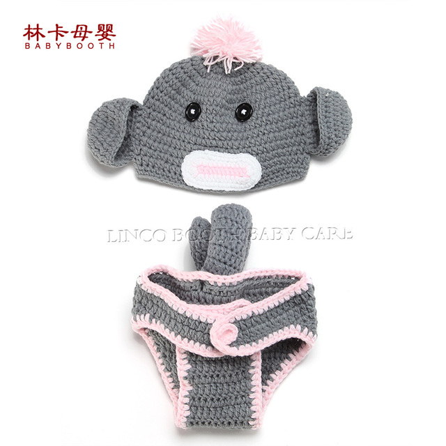 3a8a963d699 Handmade Crochet Cotton Newborn Baby Photography Props Monkey Style Knitted  Fotografia Costume Babies Hats Sets