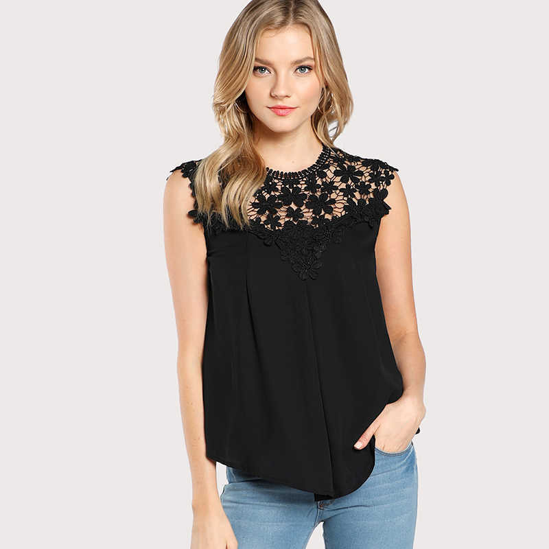 Sexy Daisy Lace Shoulder Shell Chiffon Blouses 2018 Summer Keyhole Back Sleeveless Hollow Out Shirts Women Casual Tops