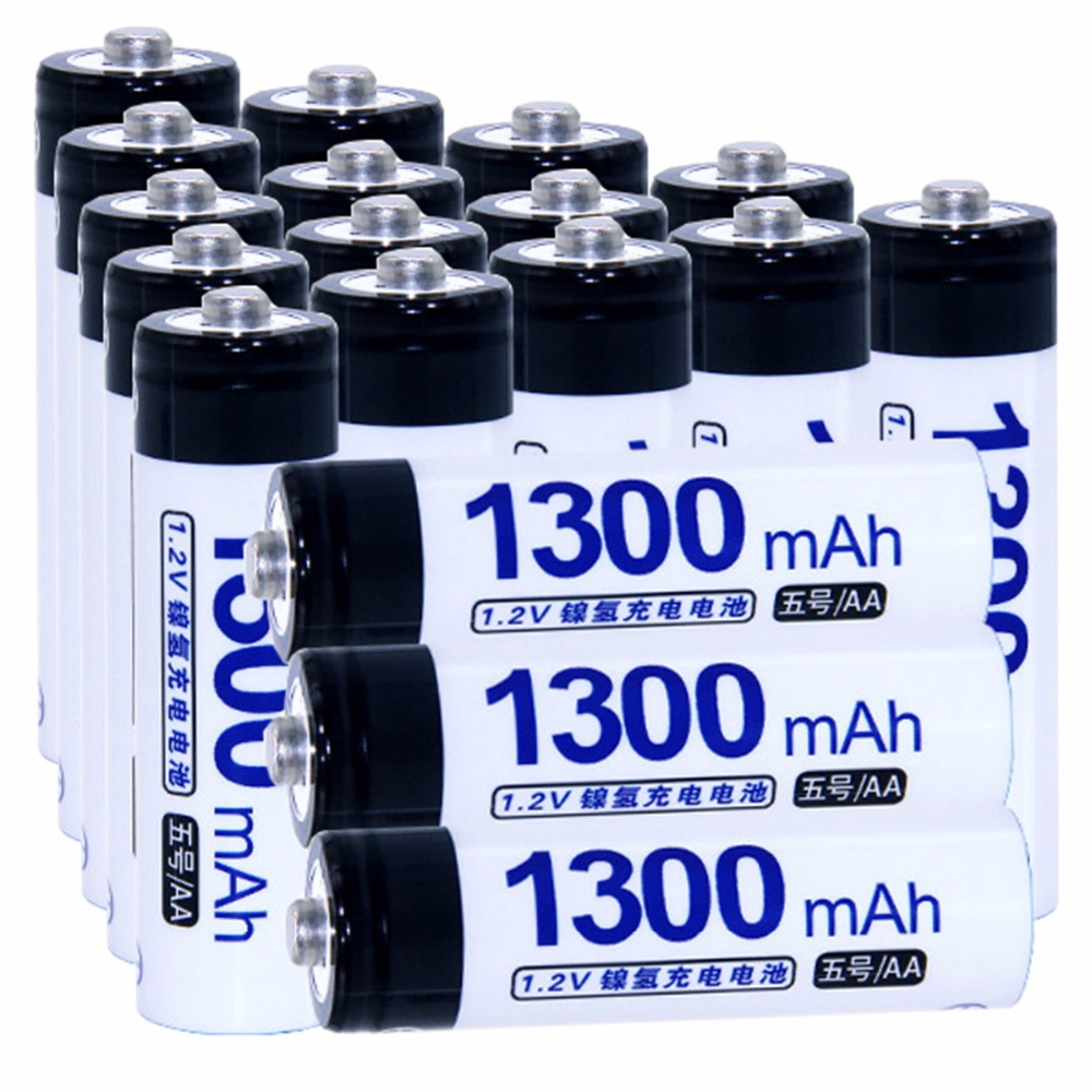 Real capacity! 18 pcs AA 1.2V NIMH AA rechargeable batteries 1300mah for camera razor toy remote control flashlight 2A batterie