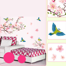 2106 Hot Sale Decorative Wall Sticker Peach Blossom Bird Flower Floral Wallpaper Mural Living Room Home
