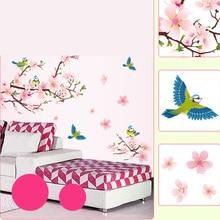 2106 Venta Caliente Etiqueta de La Pared Decorativos flor de Durazno de Aves Flor Floral Wallpaper Mural Vinilos Paredes del Hogar Sala de estar Decoración