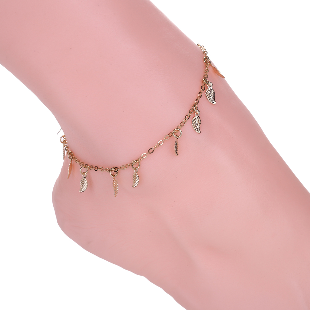 Hot Sale Simple Leaf Anklet Fashion Fine Chain Bracelet Jewellery Bohemia Style Vintage Statement For Women Jewelry New2019