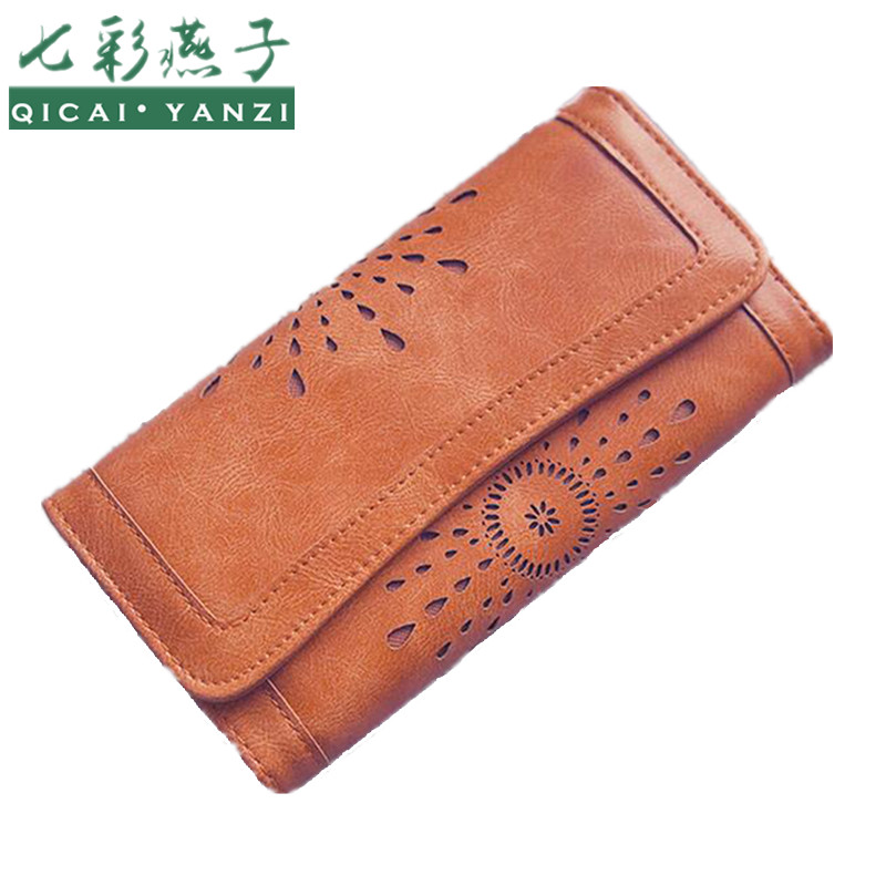 QICAI YANZI 2017 Large Capacity New Women Wallets Oil Wax Purse Handbag Lady Retro Hollow Fashion