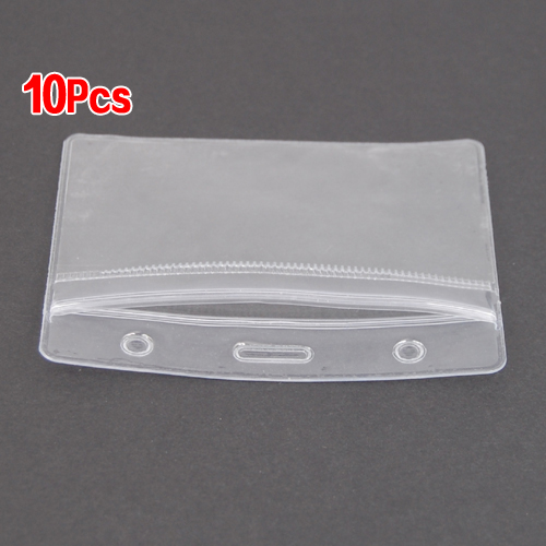 SOSW-10 x Show Clear Vertical ID Badge Card Plastic Pocket Holder Pouches 98 x 86mm 14w x 32h vertical louver functional