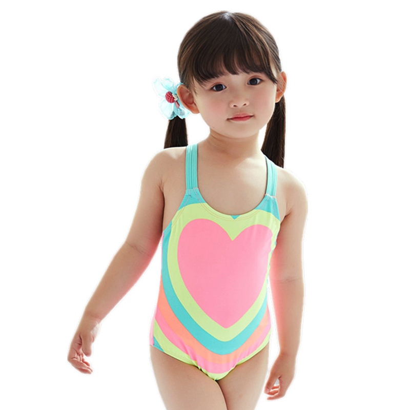 GI FOREVER Girl One Pieces Suit Children Heart Print Swimsuit 2018 Baby Cute Backless Sw ...