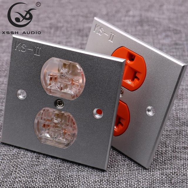 2*US KS II # Power Connector Hi end DIY HIFI  Copper plated 24k gold 20amp 20A 125V aluminium plate power socket electric outlet
