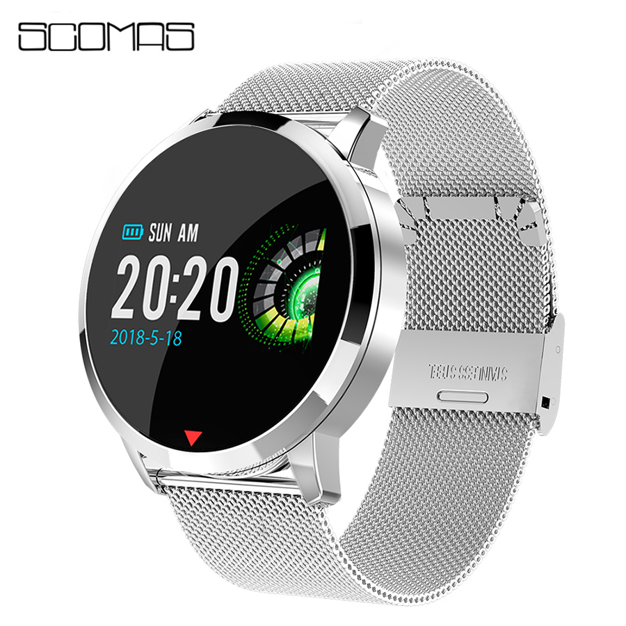 SCOMAS Fashion Smart Watch OLED Display Heart Rate Monitor Blood Oxygen Sports R