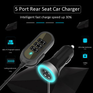 Image 5 - Multi 5 Ports Car Charger For Huawei Samsung Tablet rear seat fast car charger 5.8A Universal Usb Extension Cable Car Adapter