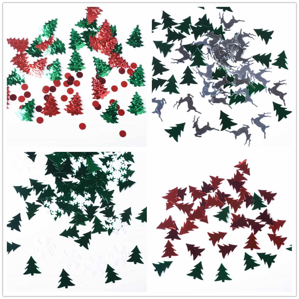 Christmas Table Confetti Sprinkles Wedding Sequins Glitter No Hole Embellishment deco noel christmas tree decorations