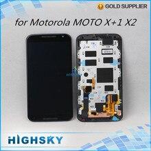 Para motorola moto x + 1×2 pantalla lcd xt1092 xt1095 xt1097 xt1096 display + touch digitizer + marco de hierro de 1 unidades el envío libre