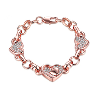 14K Rose Gold Heart Shaped New Fashion Diamond Zircon Silver 925 Bracelet Creative Alloy Couple Hand Inlaid Crystals Jewelry
