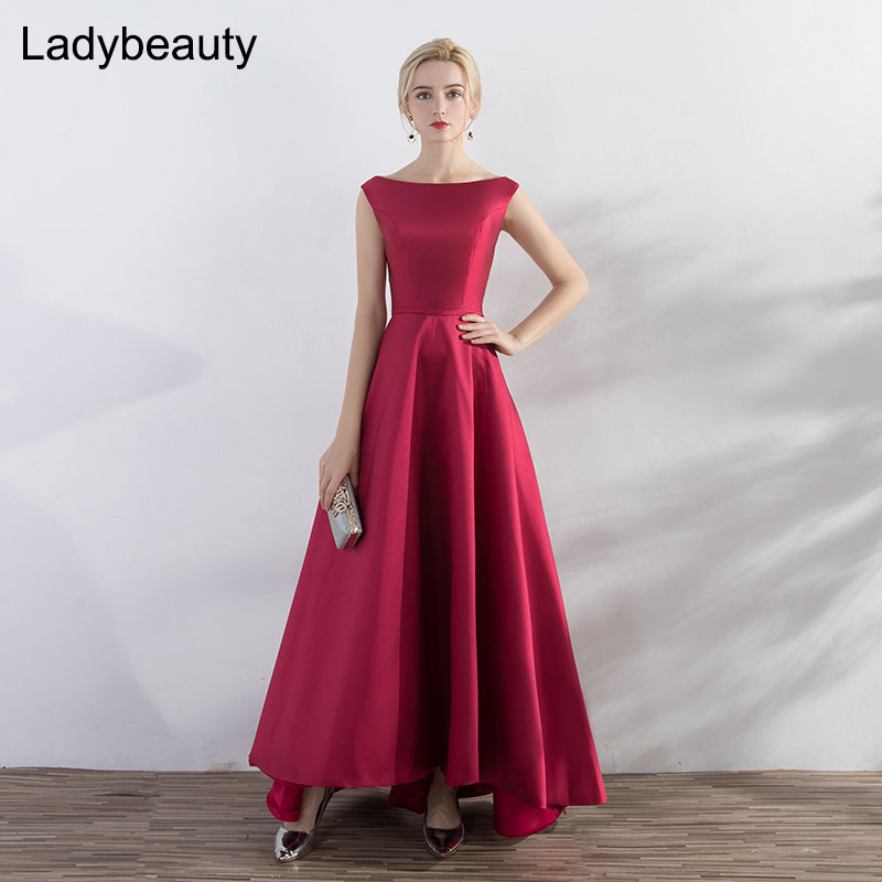 Ladybeauty New arrival 2019 Elegant Red wine Evening Dress High low Short Front Long Back Lacing