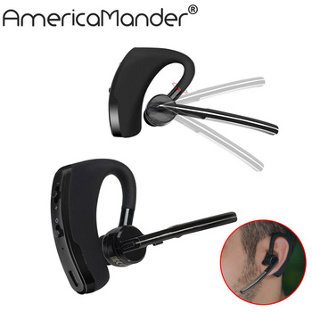 Handsfree business bluetooth headset earphone with mic voice control wireless bluetooth headphone for sports noise cancelling