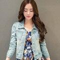 Mulheres jaqueta jeans outerwear 2016 nova primavera e outono lavado luz azul fino de todos os jogo denim casaco jaqueta curta LH115