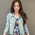 women denim jacket outerwear 2016 new spring and autumn washed light blue slim all-match denim coat short jacket LH115