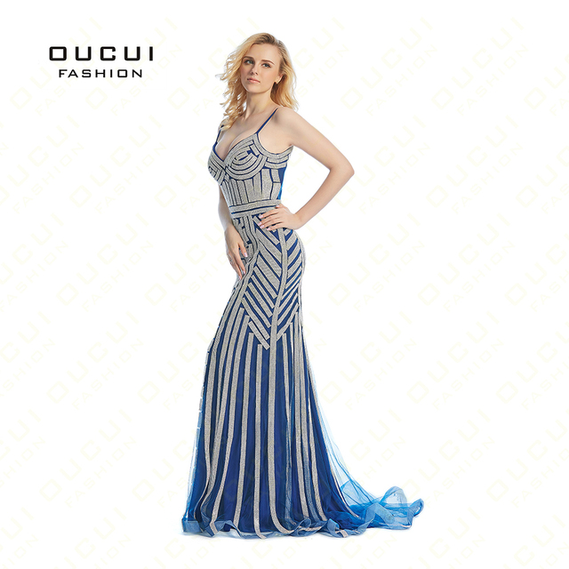 Dubai Luxury Tulle Crystal Royal Blue Mermaid Evening Gown 2019 Party Occasion Formal Long Prom Dresses Plus Size OL102829