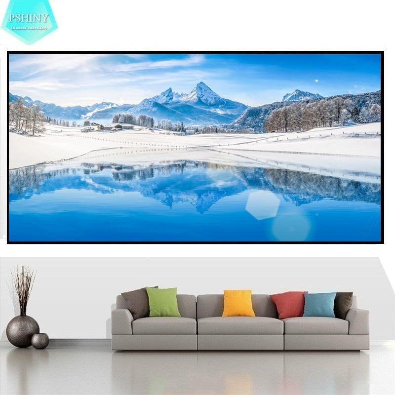 PSHINY 5d diy bordado de nieve imagen de la montaña de nieve pintura - Artes, artesanía y costura