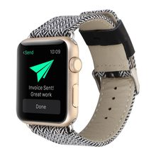 Correa para Apple Watch 38mm 42mm 40mm 44mm correa de cuero de tela para iWatch Strap Series 1 2 3 4 correa de pulsera con adaptador(China)