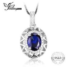 Jewelrypalace diseño único 1.5ct creado azul zafiro colgante de plata de ley 925 de joyería de moda para las mujeres sin la cadena