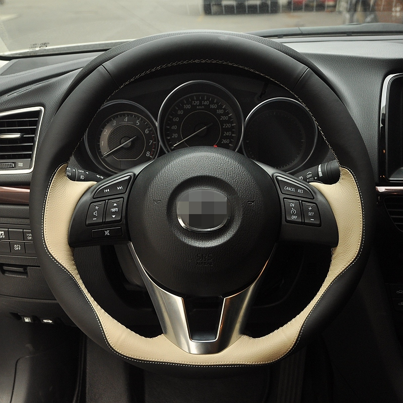 Hand Stitched Black Beige Steering Wheel Cover For Mazda